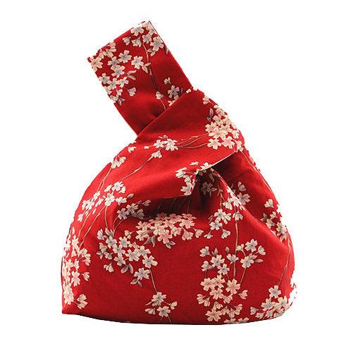 benben - 日式御結手挽包-紅色碎花