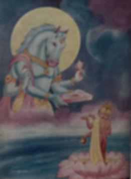 Hayagriva_restoring_Vedas_to_Brahma_whic