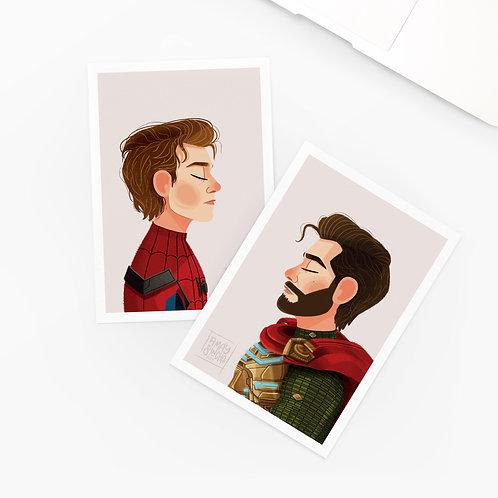 Lot de 2 Cartes Postales Spider-Man
