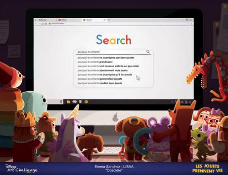 Obsolète - Concept Art - Emma Sanchez, Lisaa, Disney Art Challenge 2019, 7ème édition, Les jouets prennent vie, Toy Story 4, Prix du public