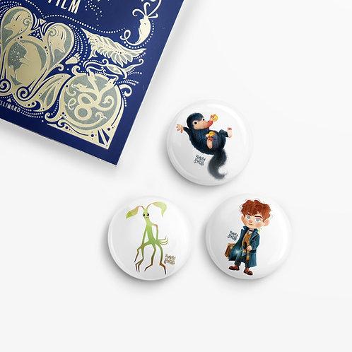 Set de 3 badges Les Animaux Fantastiques
