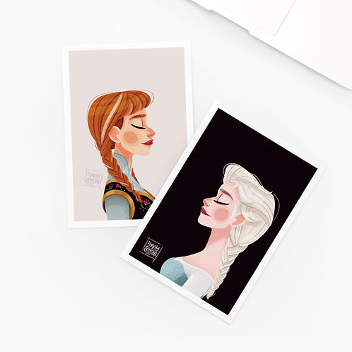 Lot de 2 Cartes Postales Frozen