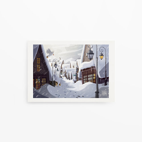 Illustration, print A4 de Pré-au-Lard, Hogsmeade, Harry Potter, paysage, dessiné par Emma Sanchez, Amay Sancha  Shop