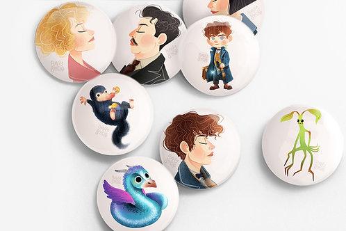 Set de 8 badges Les Animaux Fantastiques