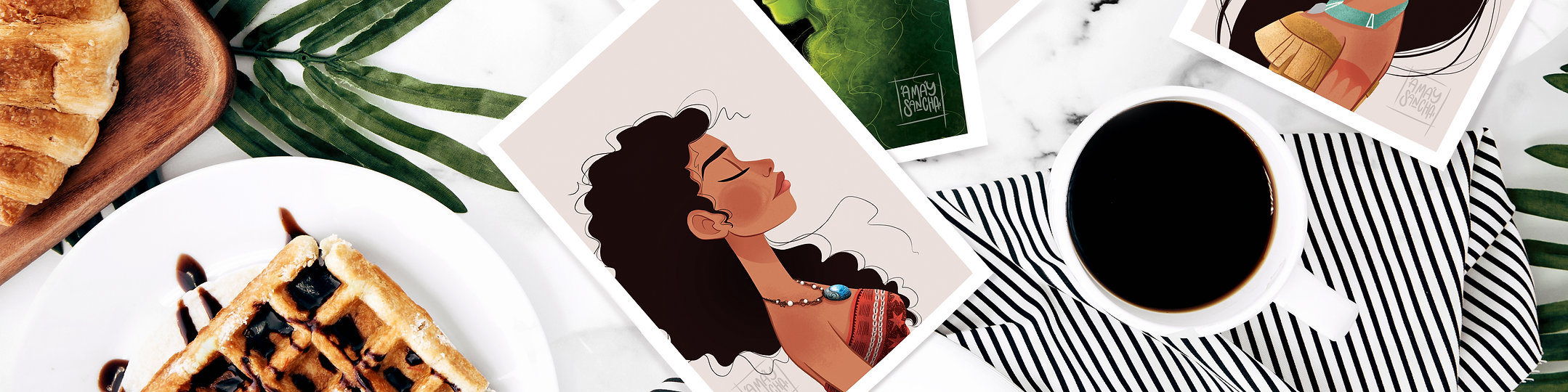 Bannière Amay Sancha Shop, site Internet, cartes postales, illustrations et cie