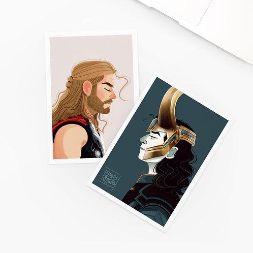 Lot de 2 Cartes Postales Thor