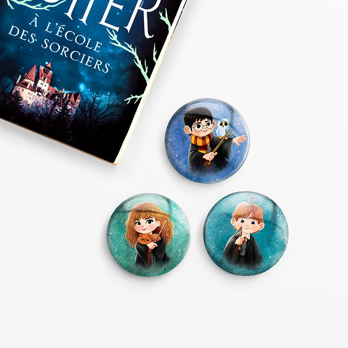 Set de 3 badges Harry Potter