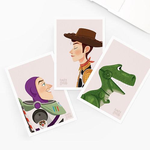 Lot de 3 Cartes Postales Toy Story