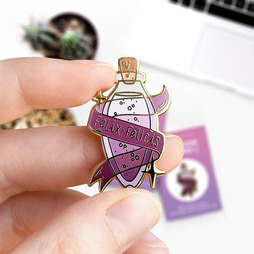 Pin's Felix Felicis philtre, potion , chance liquide, inspiré d'Harry Potter, lapel pin designé par Emma Sanchez, Amay Sancha