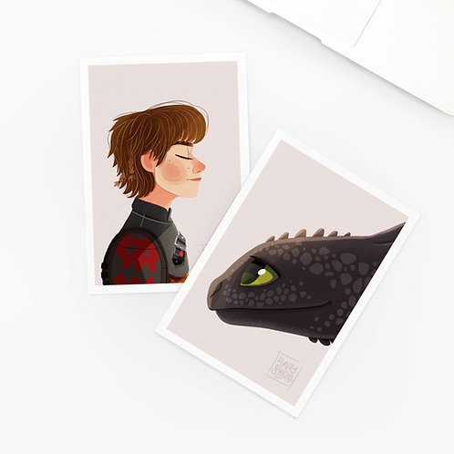 Lot de 2 Cartes Postales Dragons