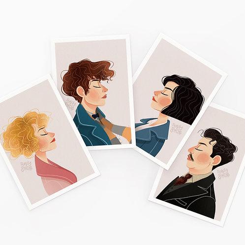 Lot de 4 Cartes Postales Les Animaux Fantastiques