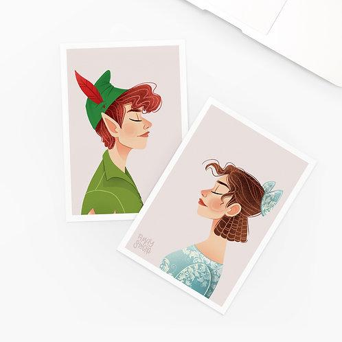 Lot de 2 Cartes Postales Peter Pan
