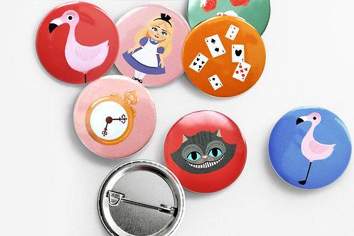 Set de 7 badges Alice