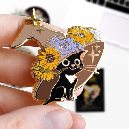 Pin's Jackson Wizard Cat, inspiré de l'univers Harry Potter, hard enamel pin, designé par Emma Sanchez, Amay Sancha Shop