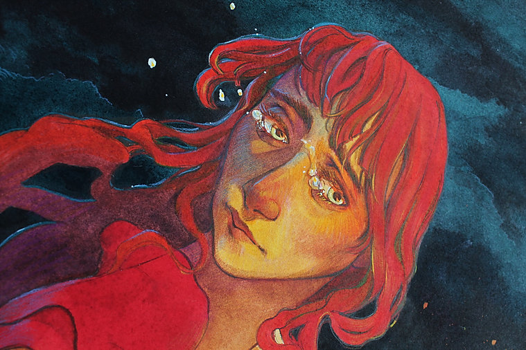 Watercolor painting fire woman