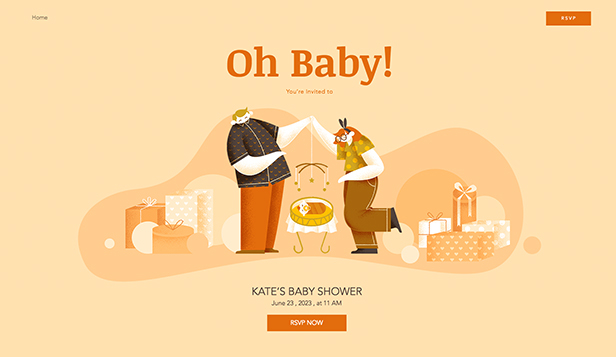 NOWE! website templates – Baby Shower