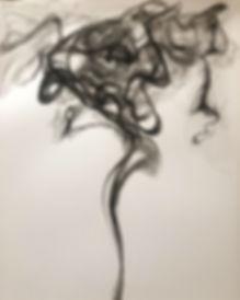 Black smoke acrylic painting