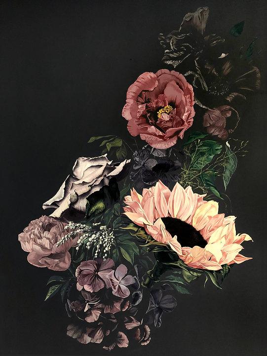 Flower mural painting