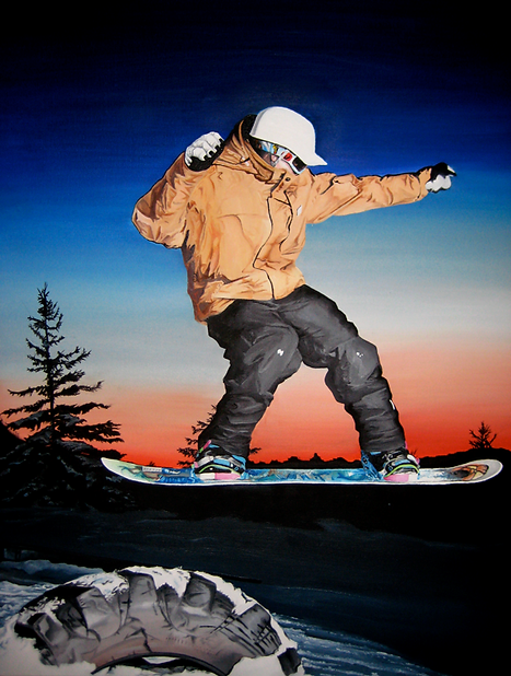 Oil Painting Realism Snowboarder