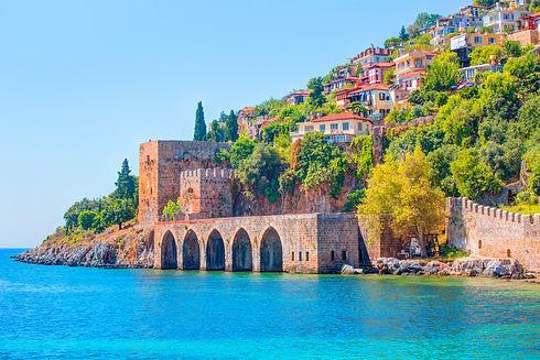 Landscape of ancient shipyard near of Kizil Kule tower in Alanya peninsula, Antalya distri