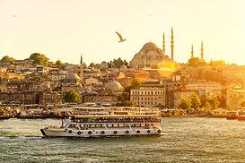 Tourist boat floats on the Golden Horn i