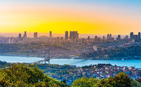 Cityscape of Istanbul with Bosphorus, skyscrapers, and 15th July Martyrs Bridge Bosphorus