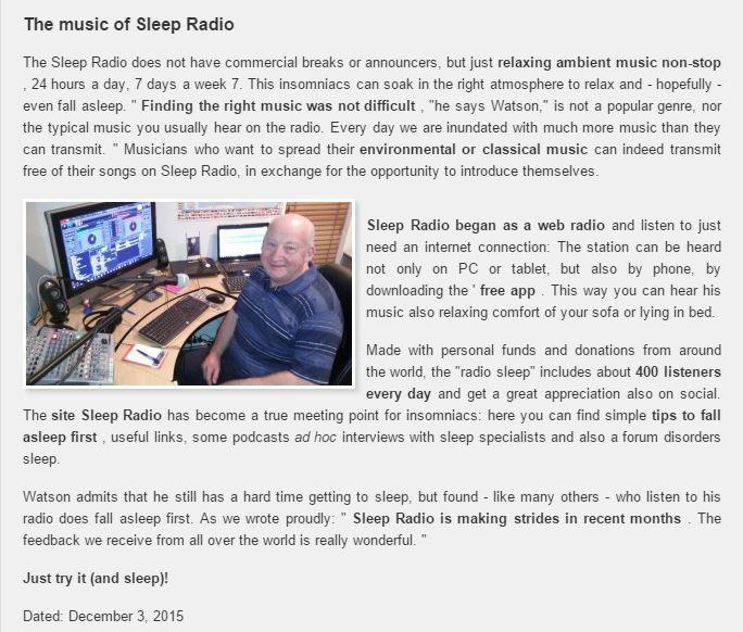 sleepradio | SONNOMEDICA ARTICLE