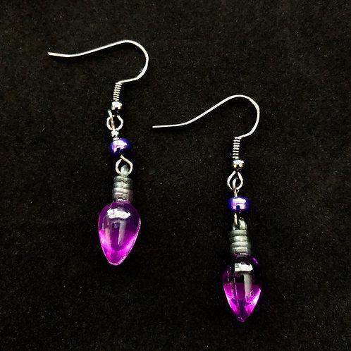 Purple Bulb Earrings
