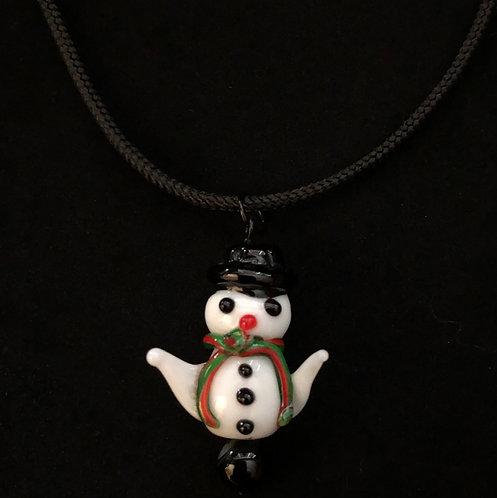 Glass Snowman Necklace