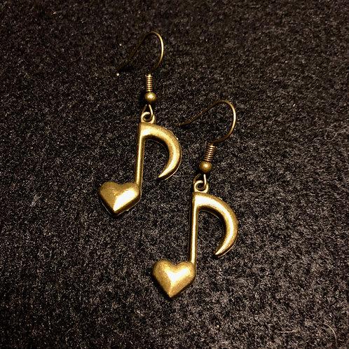Antique Brass Heart Note
