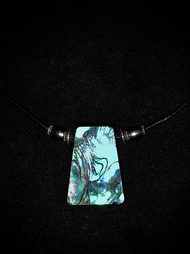 Abalone Veneer & Silver Metal on Leather