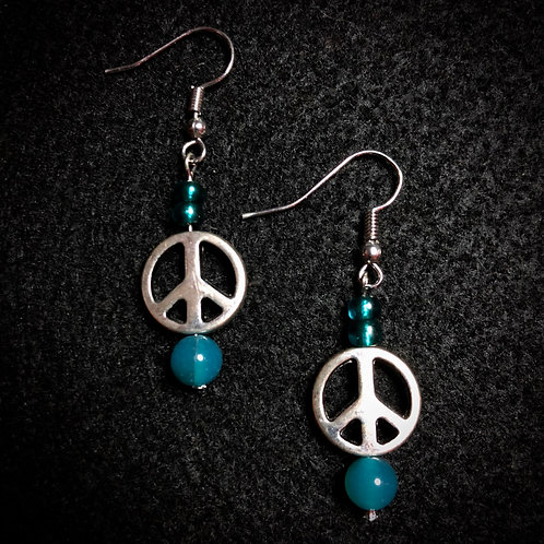 Stone, Glass & Silver Plate Peace Sign