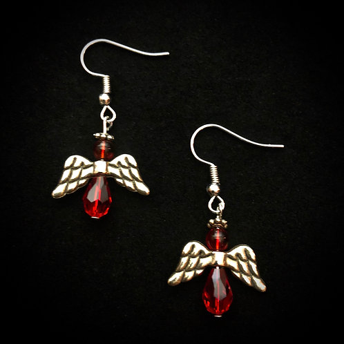 Red Glass & Silver Plate Angels