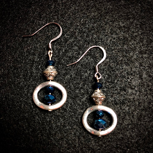 Blue Glass & Silver Plate