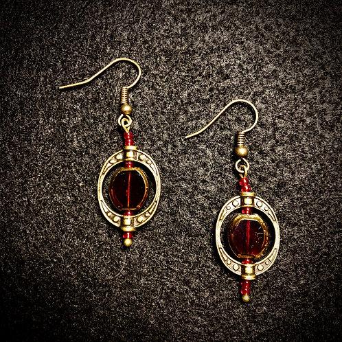 Red Glass & Antique Brass