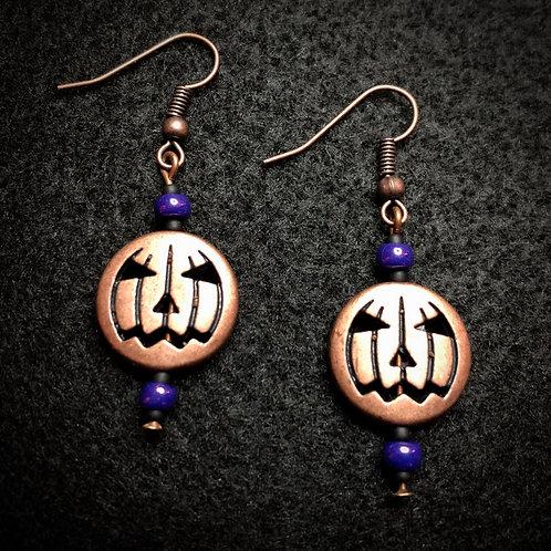 Antique Copper Pumpkins & Purple Earrings