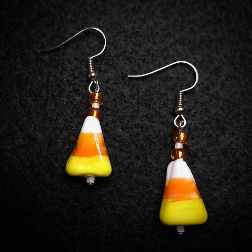 Candy Corn, White & Orange Earrings