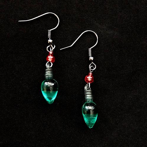 Green Bulb Earrings