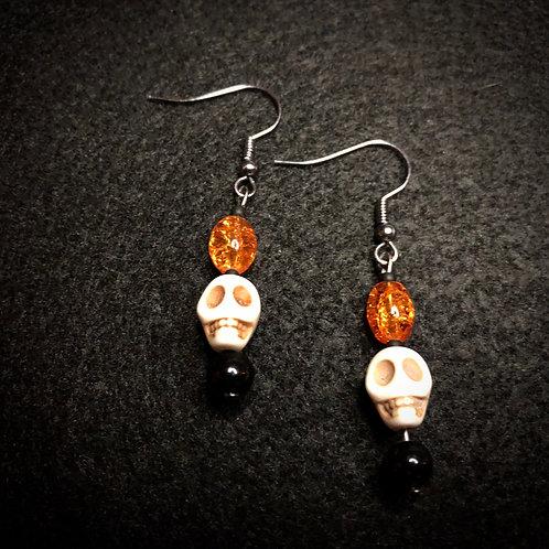 White Scull, Black & Orange Earrings