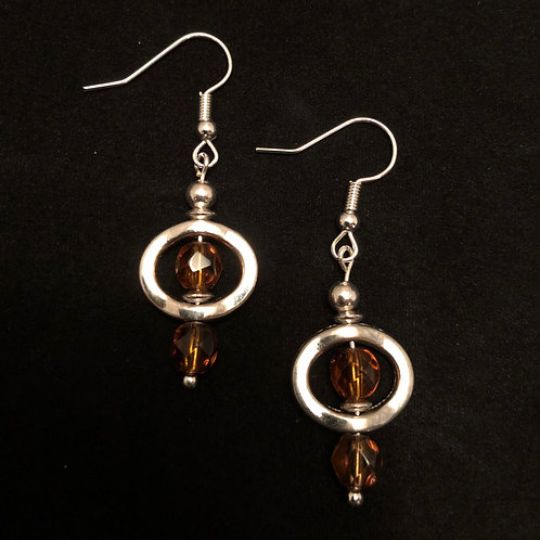 Amber Glass & Silver Plate