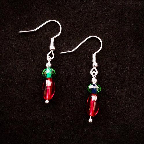 Red & Green Glass Earrings