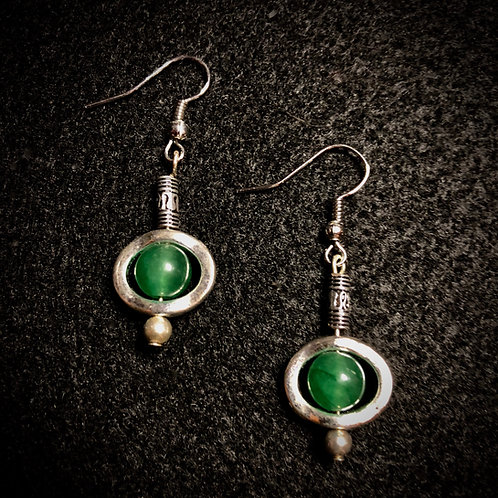 Green Glass & Silver Plate