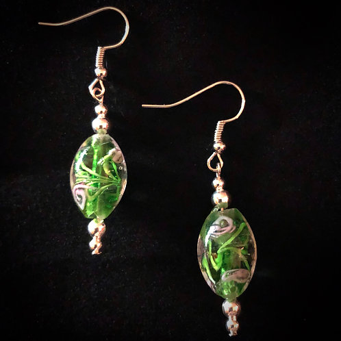 Green & Pink Glass, Silver Plate