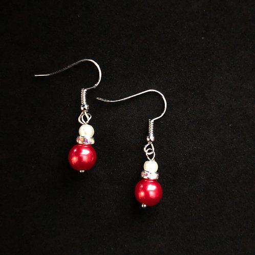 Red Faux Pearl Earrings