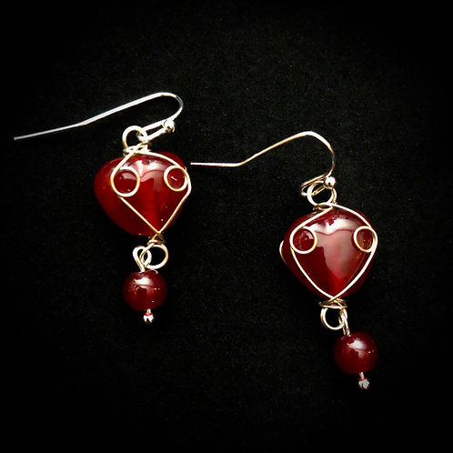 Red Glass Wired Wrapped Hearts