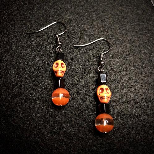 Orange Scull & Black Earrings