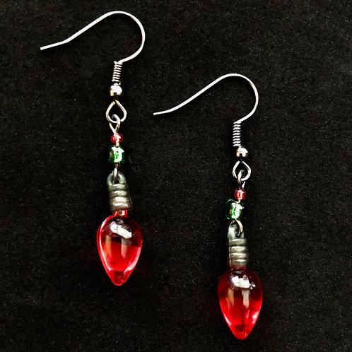 Red Bulb Earrings