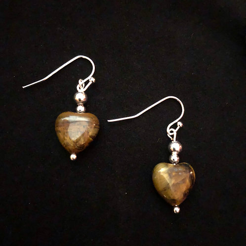 Tiger's Eye & Silver Plate Hearts