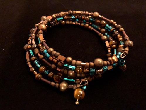 Tiger's Eye, Hematite, Glass & Antique Bronze