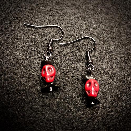 Red Scull & Black Earrings